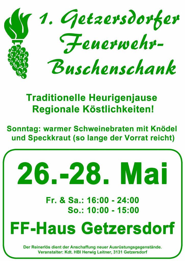 Einladung zur 1. Getzersdorfer Feuerwehr-Buschenschank